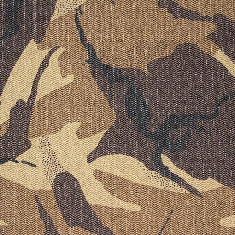 H340 Kengo Camo 2 Print waxed cotton fabric by Halley Stevensons